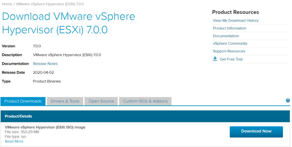 Télécharger l'hyperviseur ESXi 7.0