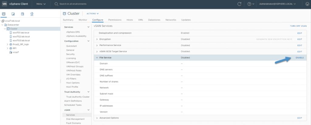 Service de fichiers vSAN configuration